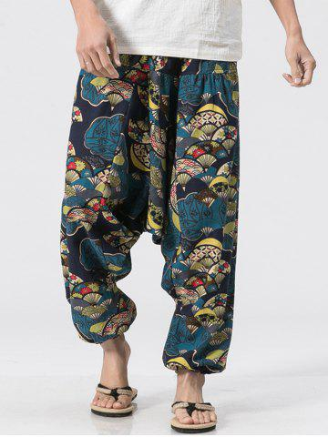 New Japanese Fan Print Jogger Pants