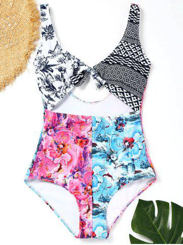Outfits Plunge Neck Printed Cut Out Swimsuit