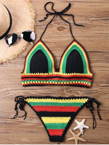 Beach Halter Knit Bikini Set