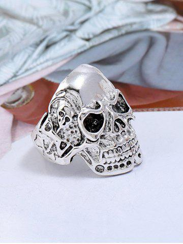 Online Retro Plated Skull Metal Biker Ring