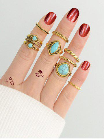 Discount Simple Faux Turquoise Circle Finger Ring Set