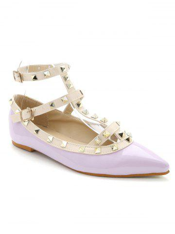 Cheap Rivets Ankle Wrap Flats