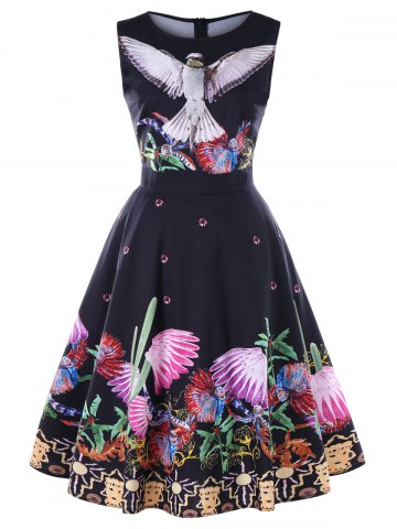 Birds Plants Print Sleeveless Vintage Dress