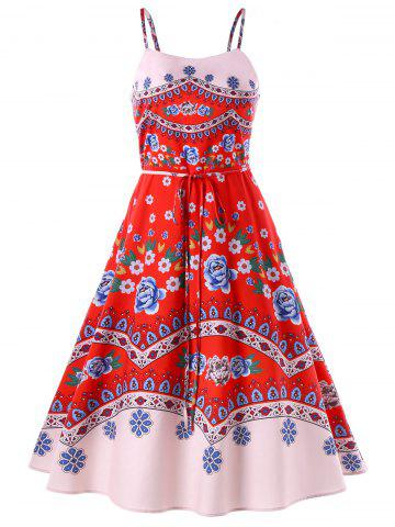 Chic Print Swing Spaghetti Strap Dress