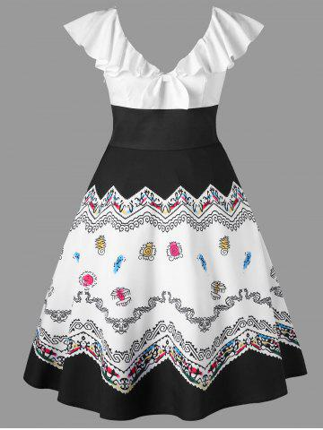 Плюс Размер Flounce Print Vintage Dress