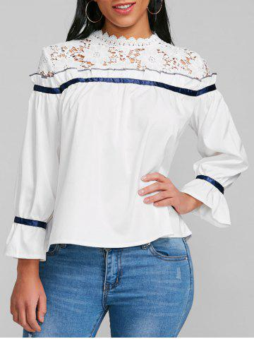 Store Lace Panel Ruffle Flare Sleeve Blouse