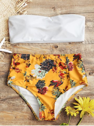 Trendy Strapless Floral High Rise Bathing Suit