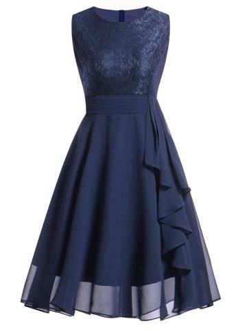 Latest Lace Insert Flare Party Dress