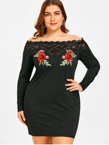Plus Size Off Shoulder Flower Embroidered Bodycon Dress
