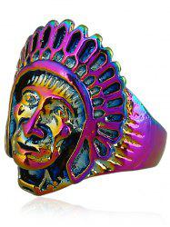 Retro Native American Head Portrait Ring -