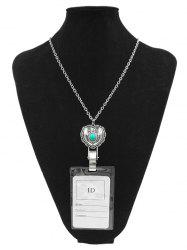 Alloy Vintage Heart Shape Pendant ID Card Necklace -