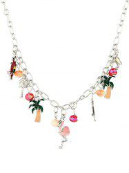 Alloy Flamingo Coconut Tree Pendant Necklace -