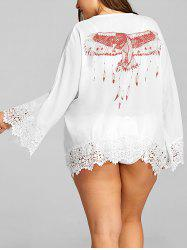 Plus Size Lace Hem See Through Cover Up -