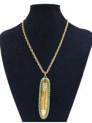 Retro Alloy Oval Arrow Beaded Inlay Pendant Necklace -