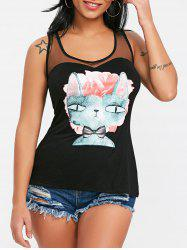 Mesh Panel Graphic Racerback Tank Top -