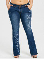 Plus Size Graphic Flare Bottom Jeans -
