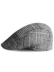 Simple Tartan Pattern Embellished Newsboy Cap -