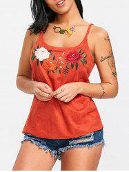 Flower Embroidered Spaghetti Strap Tank Top -