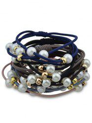 7PCS Simple Faux Pearl Elastic Hair Bands -