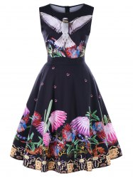 Birds Plants Print Sleeveless Vintage Dress -