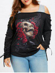 Cold Shoulder Plus Size Skull Rose T-shirt -