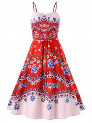 Print Swing Spaghetti Strap Dress -