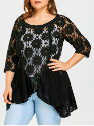Plus Size Flower Lace Blouse with Cami Top -