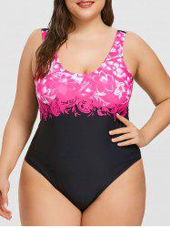 Plus Size High Cut One Piece Swimwear -