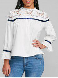 Lace Panel Ruffle Flare Sleeve Blouse -
