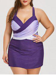 Plus Size Criss Cross Skirted Tankini Set -