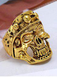 Punk Carved Skull Plated Metal Biker Ring -