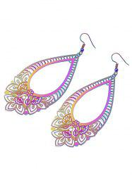 Teardrop Floral Plated Drop Earrings -