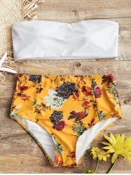 Strapless Floral High Rise Bathing Suit -