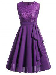 Lace Insert Flare Party Dress -