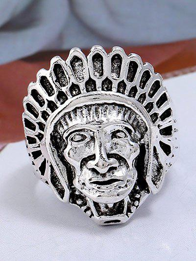 Outfit Retro Native American Head Portrait Ring