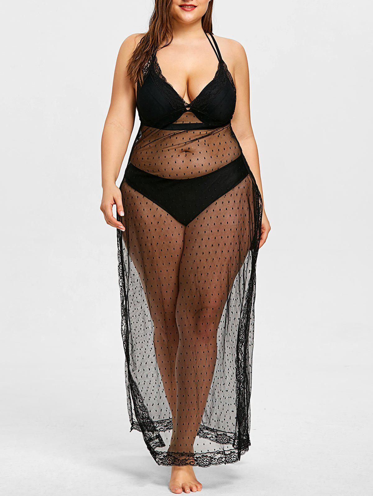 Fancy See Through Plus Size Beach Cover Up
