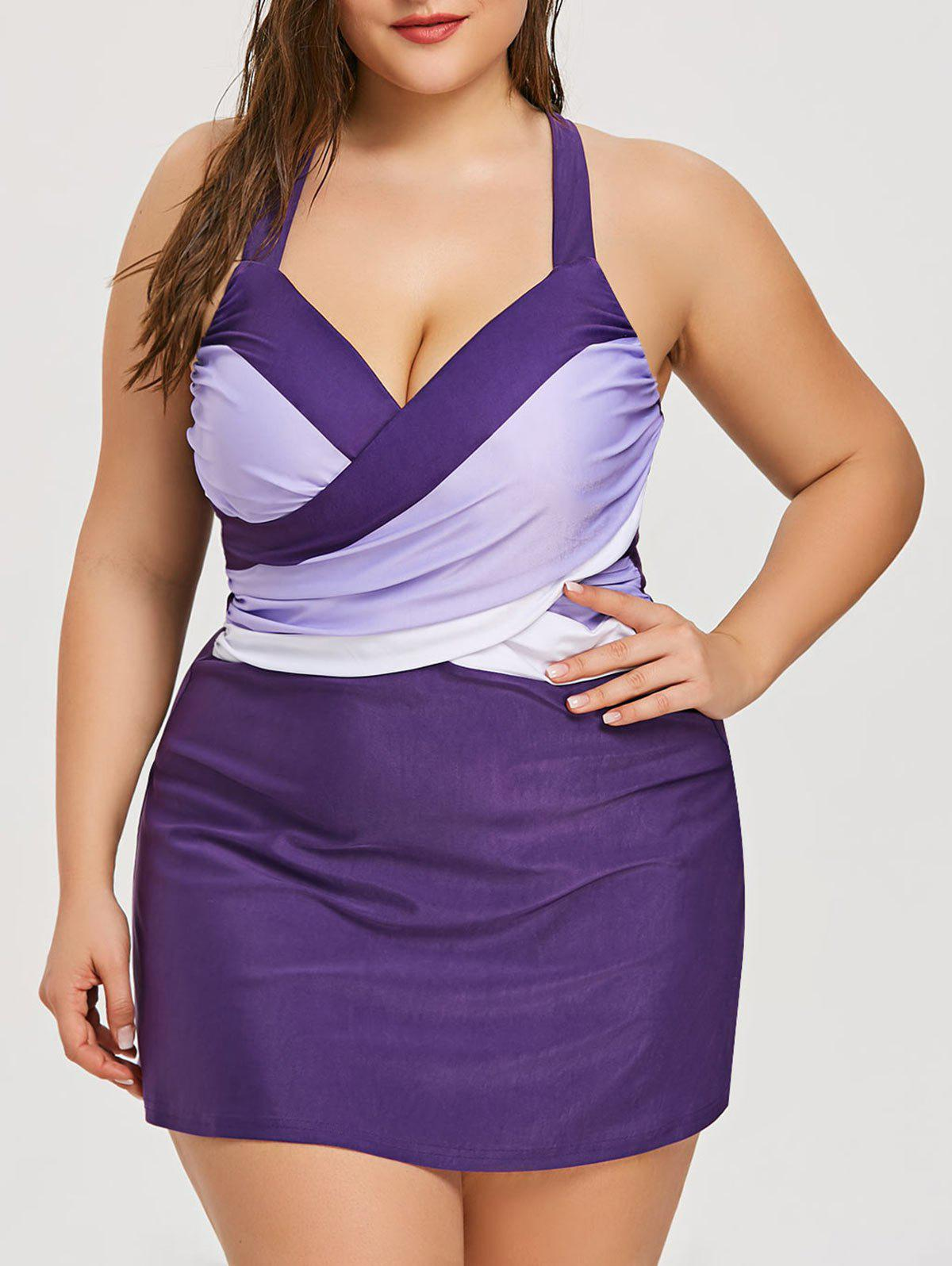 Online Plus Size Criss Cross Skirted Tankini Set