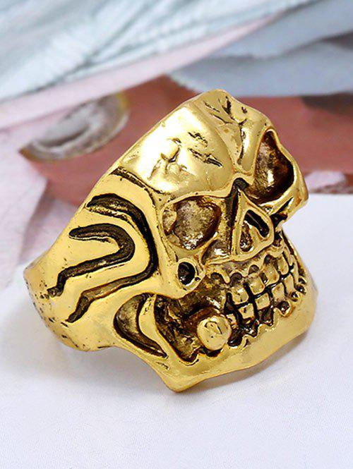 Chic Plated Square Face Skull Metal Retro Biker Ring