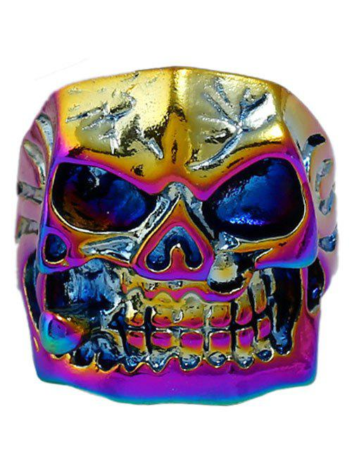 Sale Plated Square Face Skull Metal Retro Biker Ring