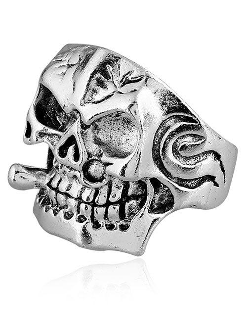 Shop Plated Square Face Skull Metal Retro Biker Ring