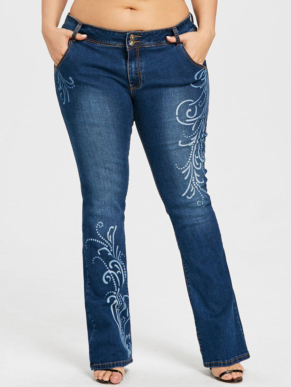 Best Plus Size Graphic Flare Bottom Jeans