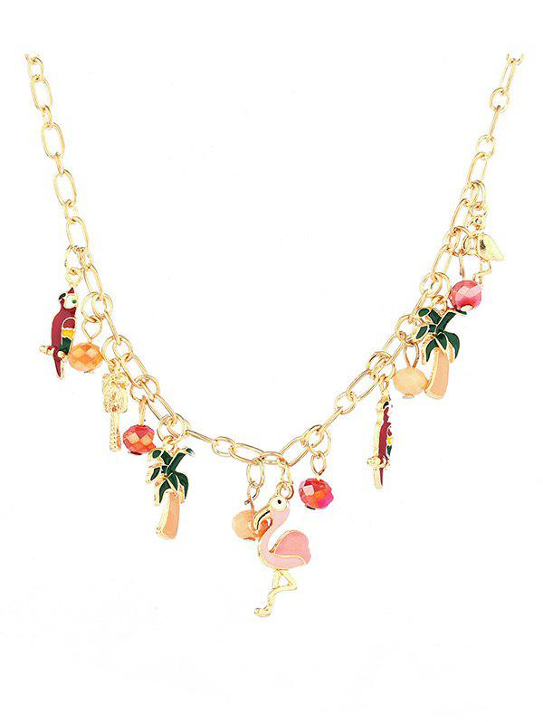 Fashion Alloy Flamingo Coconut Tree Pendant Necklace
