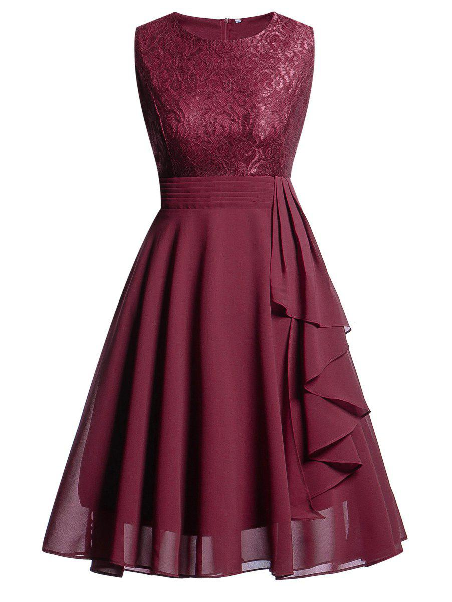 Trendy Lace Insert Flare Party Dress