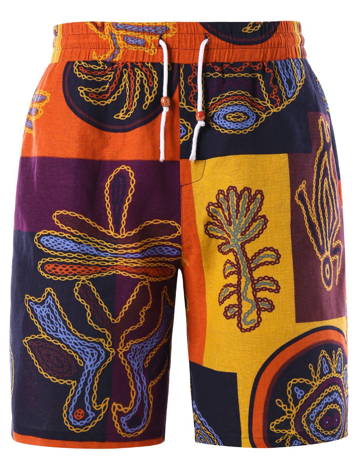 Cheap Ethnic Graphic Drawstring Bermuda Shorts