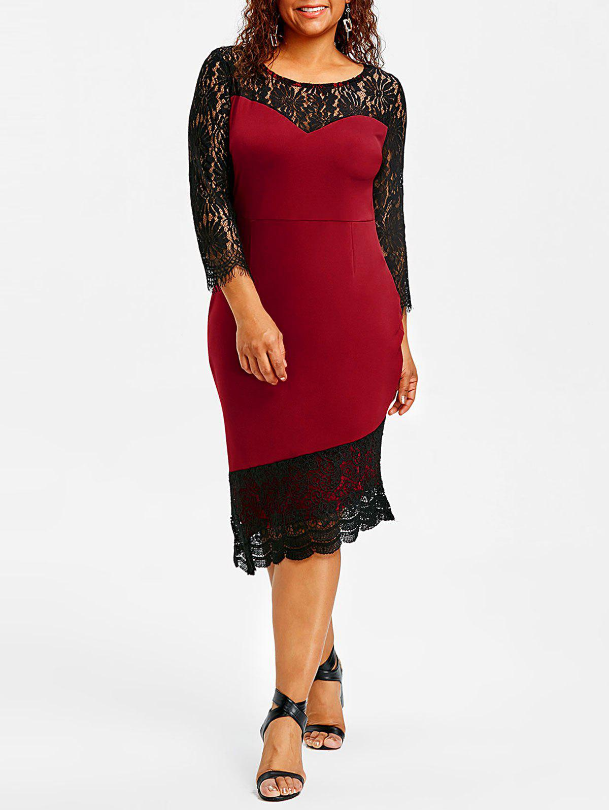 Latest Plus Size Lace Trim Asymmetric Dress