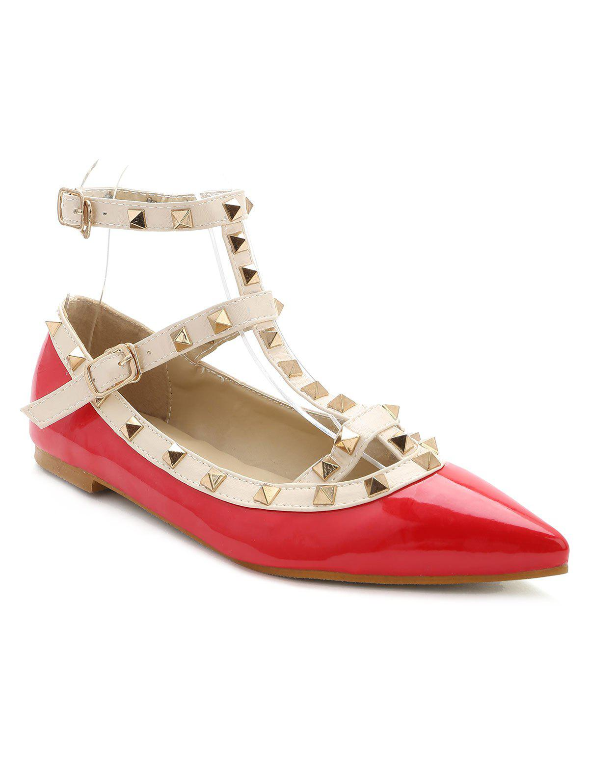 Fancy Rivets Ankle Wrap Flats