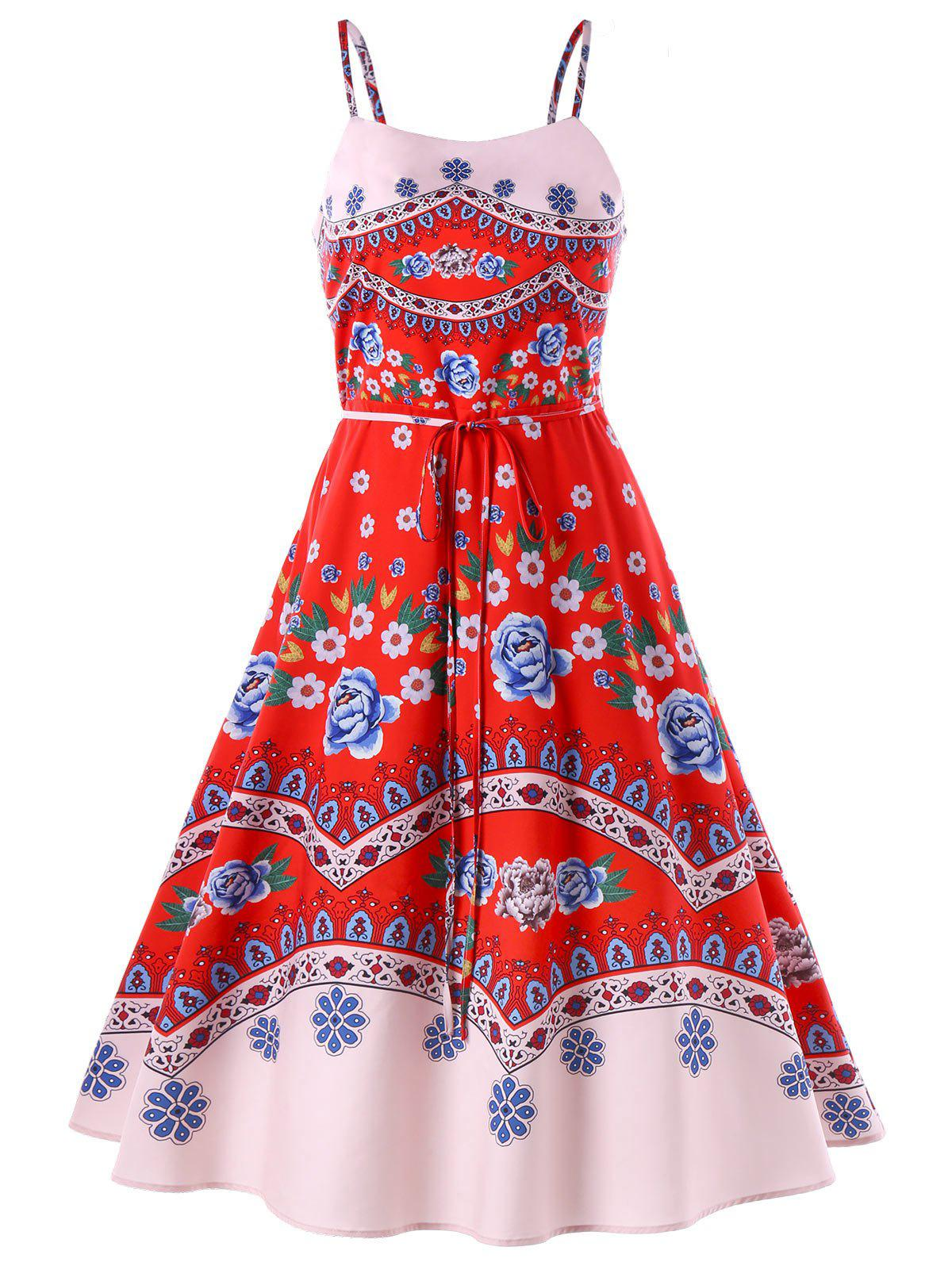 Buy Print Swing Spaghetti Strap Dress