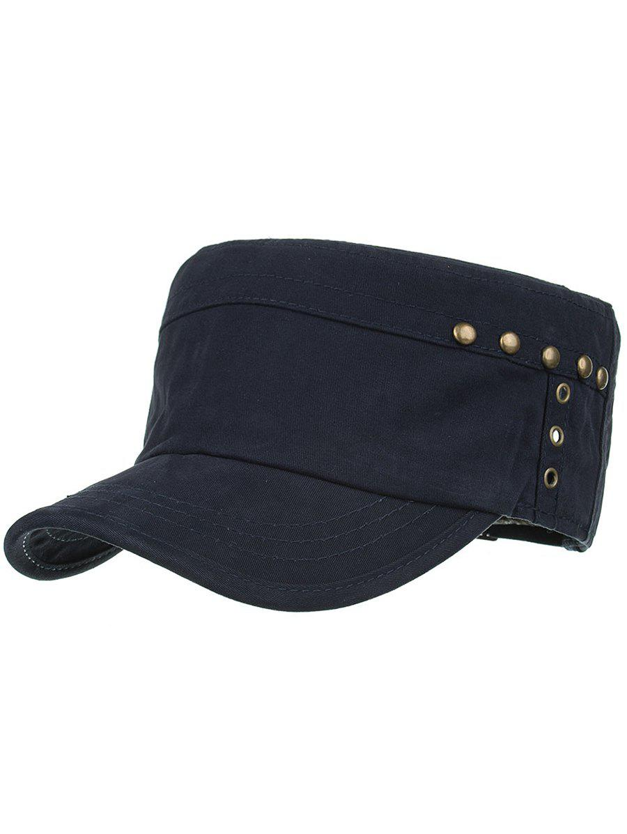 Unique Unique Rivets Pattern Embellished Military Cap
