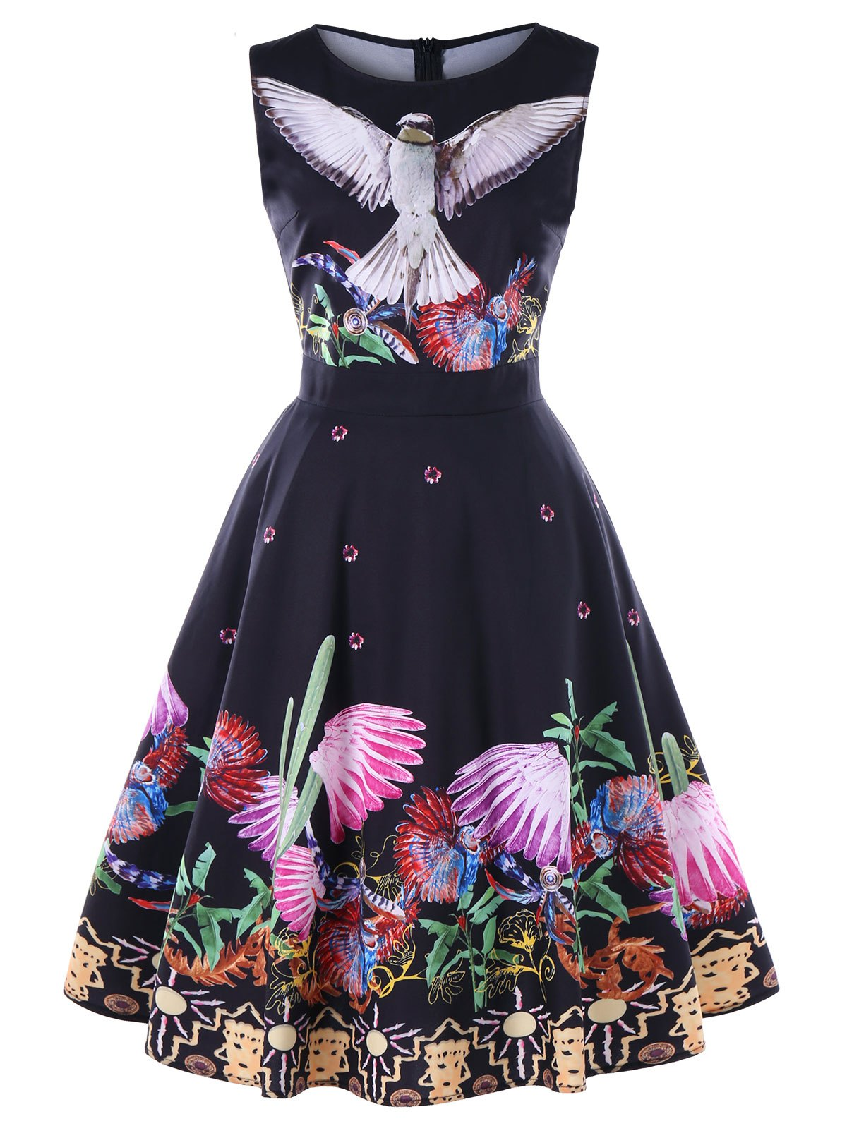 New Birds Plants Print Sleeveless Vintage Dress