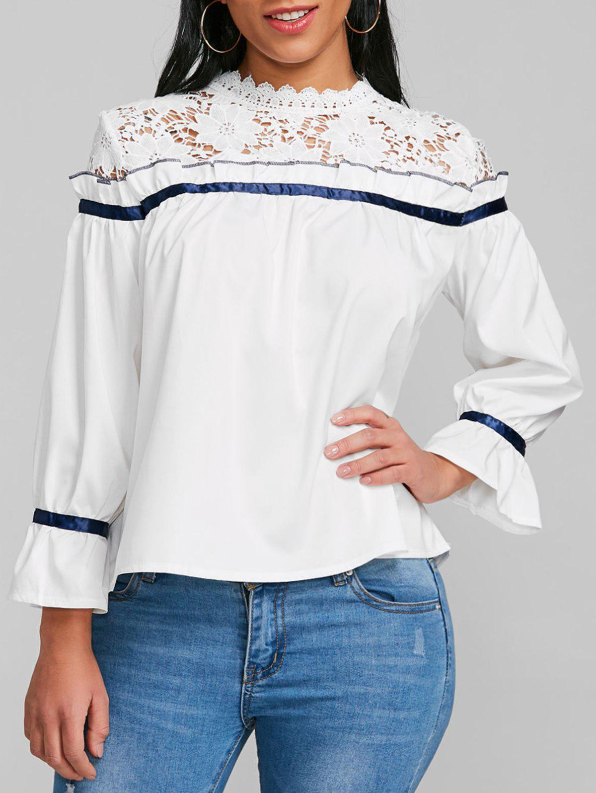 New Lace Panel Ruffle Flare Sleeve Blouse